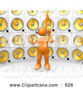 Clip Art of a Tall Wall of Yellow Speakers, a Man Listening to All by 3poD