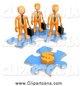 Clip Art of a Team of 3d Orange Businessmen Standing on Joined Puzzle Pieces, Looking at a Dollar Symbol by 3poD