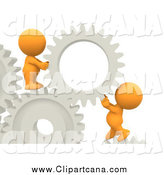 Clip Art of a Team of 3d Orange Guys Creating Gear Solutions by