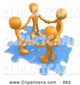 Clip Art of a Team of Four Orange People Holding Hands While Standing on Connected Blue Puzzle Pieces, Symbolizing Teamwork, and Interlinking for Seo Website Marketing by 3poD