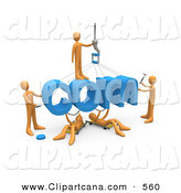 Clip Art of a Team of Orange Guys Constructing the Word Com, Symbolizing a Website Under Construction by 3poD