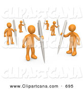 Clip Art of a Team of Orange People Holding Their Own Pens As a Metaphor for Writing in a Community Forum by 3poD