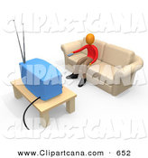 Clip Art of a Teenage Boy Sitting on a Tan Couch and Holding a Remote Control out to Change the Channel on His Tv in a Living Room by 3poD