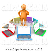 Clip Art of a Thinking Orange Person in Thought, Surrounded by a Circle of Colorful Laptop Computers, Symbolizing Research, Job Hunting and Decisions by 3poD