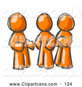 Clip Art of a Trio of Painted Orange Men Talking at the Office by Leo Blanchette