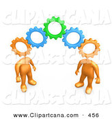 Clip Art of a Two Orange People with Interlocking Cog Heads, Standing on the Ends of Working Gears, Symbolizing Teamwork and Brainstorming by 3poD