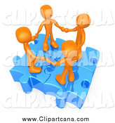 Clip Art of a Union of 3d Orange People Holding Hands on Linked Puzzle Pieces by 3poD