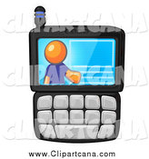 Clip Art of a Virtual Orange Man on a Cell Phone Display by Leo Blanchette