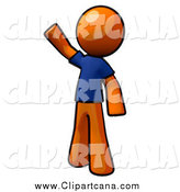 Clip Art of a Waving Friendly Orange Man in a Blue Shirt by Leo Blanchette