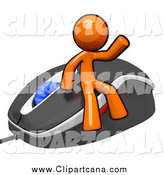 Clip Art of a Waving Orange Man on a Computer Mouse by Leo Blanchette