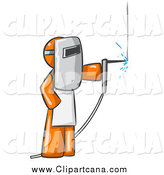 Clip Art of a Welding Orange Man Wearing Protective Gear by Leo Blanchette