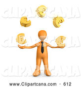 Clip Art of a Wise Orange Businessman Standing and Juggling Golden Euro Signs, Symbolizing Success by 3poD