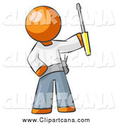 Clip Art of a Worker Orange Man Electrician Holding a Screwdriver by Leo Blanchette