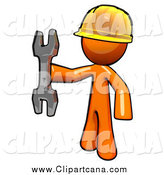 Clip Art of a Worker Orange Man Holding a Wrench by Leo Blanchette