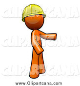 Clip Art of a Worker Orange Man Wearing a Hardhat and Presenting by Leo Blanchette