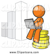 Clip Art of a Working Orange Man Sitting on Coins and Using a Laptop by a Bar Graph by Leo Blanchette