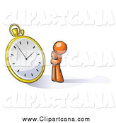 Clip Art of a Worried Orange Man Watching a Clock by Leo Blanchette