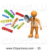 Clip Art of a Yelling Orange Person Shouting OFFER Through a Megaphone, Symbolizing Job Opportunities and Sales by 3poD
