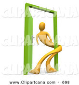 Clip Art of a Yellow Man Twisted Around the Frame of an Open Green Door, Symbolizing Lonliness, Split Personalities, Uncertainty, and an Egotistical Person by 3poD