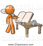 Clip Art of an Author Orange Man Writing a Book by Leo Blanchette