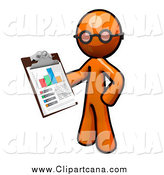 Clip Art of an Inspector Orange Man Holding a Chart on a Clipboard by Leo Blanchette