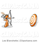Clip Art of an Orange Archer Aiming a Bow and Arrow at a Target by Leo Blanchette