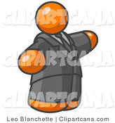 Clip Art of an Orange Business Man Presenting by Leo Blanchette
