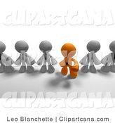 Clip Art of an Orange Business Man Standing out from the Crowd of Gray Business People by Leo Blanchette