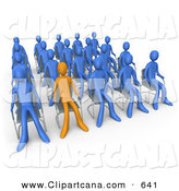 Clip Art of an Orange Businessman Standing out in a Crowd of Blue People Seated in Chairs During a Staff Meeting by 3poD