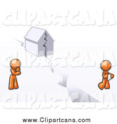 Clip Art of an Orange Couple with a House Divided by Leo Blanchette