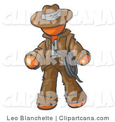 Clip Art of an Orange Cowboy by Leo Blanchette