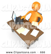 Clip Art of an Orange Employee Sitting at a Wooden Desk and Using a Laptop While Doing Paperwork at the OfficeOrange Employee Sitting at a Wooden Desk and Using a Laptop While Doing Paperwork at the Office by 3poD