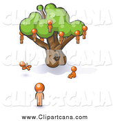 Clip Art of an Orange Family at a Tree by Leo Blanchette