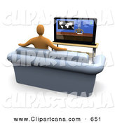 Clip Art of an Orange Figure Sitting down on a Loveseat Sofa in a Living Room and Watching the News Channel on Television While Resting His Arms on the Back of the Couch by 3poD