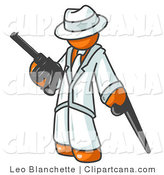 Clip Art of an Orange Gangster Man with Guns by Leo Blanchette