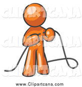 Clip Art of an Orange Guy Tying Loose Ends of Cables by Leo Blanchette