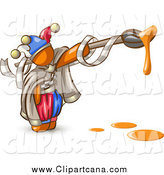 Clip Art of an Orange Jester Artist with a Dripping Paintbrush by Leo Blanchette