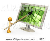 Clip Art of an Orange Man, a Cartoonist or Web Designer, Using a Paintbrush on a Flat Screen Computer Monitor to Create an Image or to Design a Website by 3poD