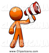Clip Art of an Orange Man Announcing with a Striped Megaphone by Leo Blanchette