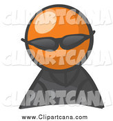 Clip Art of an Orange Man Avatar Wearing Shades by Leo Blanchette