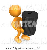 Clip Art of an Orange Man Carrying a Heavy Trash Can out to the Curb on Garbage Day by 3poD