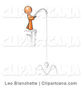 Clip Art of an Orange Man Cliff Fishing by Leo Blanchette