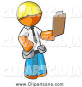 Clip Art of an Orange Man Construction Foreman Holding a Clipboard by Leo Blanchette