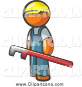 Clip Art of an Orange Man Construction Worker with a Red Pipe Wrench by Leo Blanchette