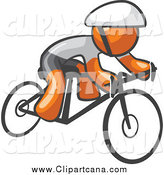 Clip Art of an Orange Man Cyclist Riding a Bike by Leo Blanchette
