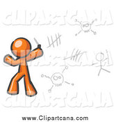 Clip Art of an Orange Man Drawing Hieroglyph on a Wall by Leo Blanchette