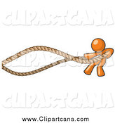 Clip Art of an Orange Man Exercising with Ropes by Leo Blanchette