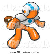 Clip Art of an Orange Man Football Player by Leo Blanchette