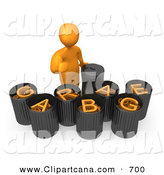 Clip Art of an Orange Man Giving the Thumbs up While Standing by Garbage Bins with Orange Text Reading Garbage by 3poD