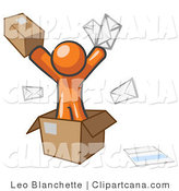 Clip Art of an Orange Man Going Postal with Mail by Leo Blanchette